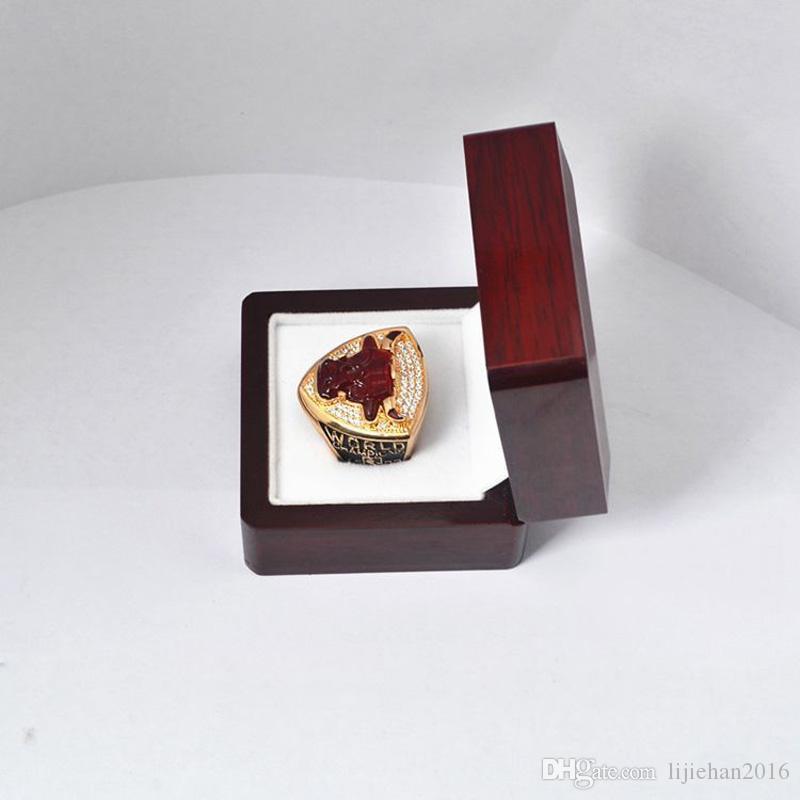 Caixa de madeira da caixa da vitrina do anel do campeonato para o campeonato (madeira, 1 furo) vermelho de 65 ** de 65 * de 45mm