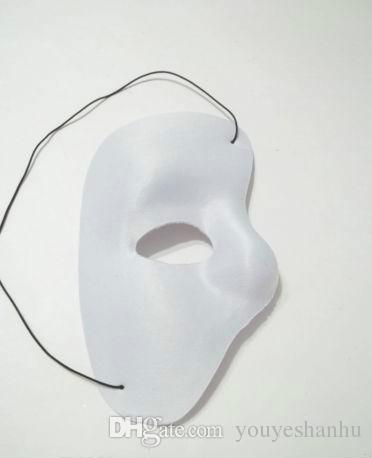 Phantom Of The Opera Face Mask Halloween Christmas New Year Party Costume Clothing Make Up Fancy Dress Up - Most Adults White Phantom Mask