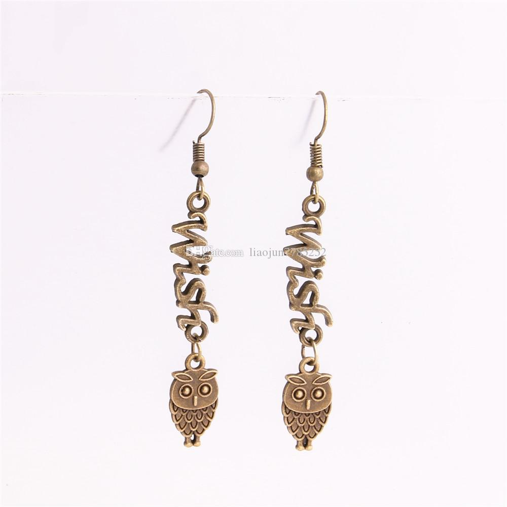 Metal Alloy Zinc Letter Wish Connector Owl Pendant Charm Drop Earing Diy Jewelry Making C0732