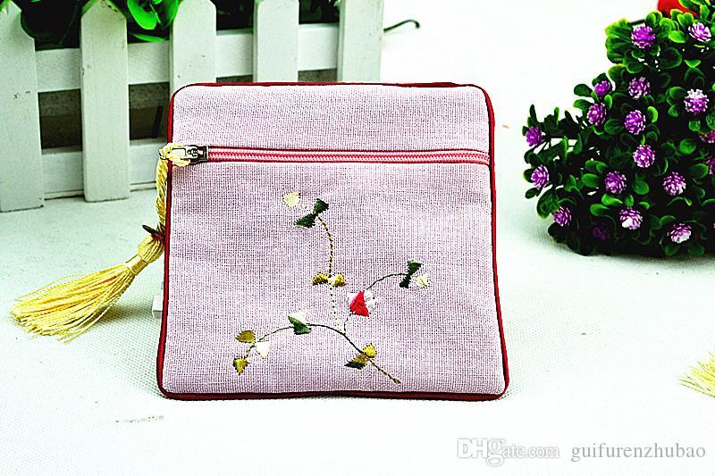 높은 품질 자 수 꽃 지퍼 가방 작은 코 튼 담보 여행 쥬얼리 선물 주머니 중국 술 팔찌 저장 가방 동전 지갑