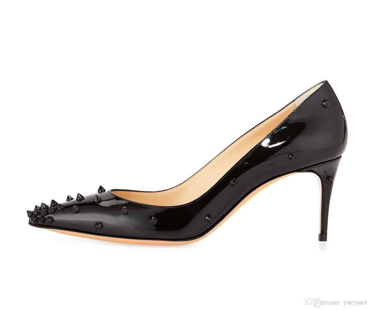 Zandina Donna Donna 65mm Tacco Alto Rivetti Spikes Punta a punta Party Dress Sera Scarpe a spillo Nero K332
