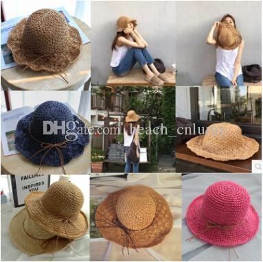 Moda ancho Brim sombreros de sol de playa de verano para mujeres ganchillo  bowknots Sombreros de paja sombreros playa vacaciones protector solar  grandes ... 1bb3566b1f5