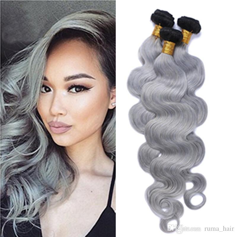 Brazilian Short Weave Hair Extensions Remy Hair 1b Silver Grey Ombre