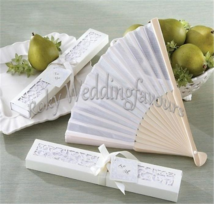 !Wedding Favors Bamboo Silk Fans with Laser Cut Gift Box white/Black Silk Fan Wedding Decoration Party Supplie Shower