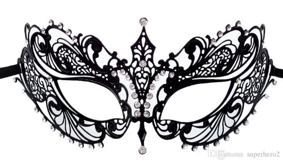 Metal Filigree Laser Cut Ball Mask Christmas Halloween Wedding Charm Venetian Masquerade Rhinestone Mask Fancy Dress Party Eyemasks