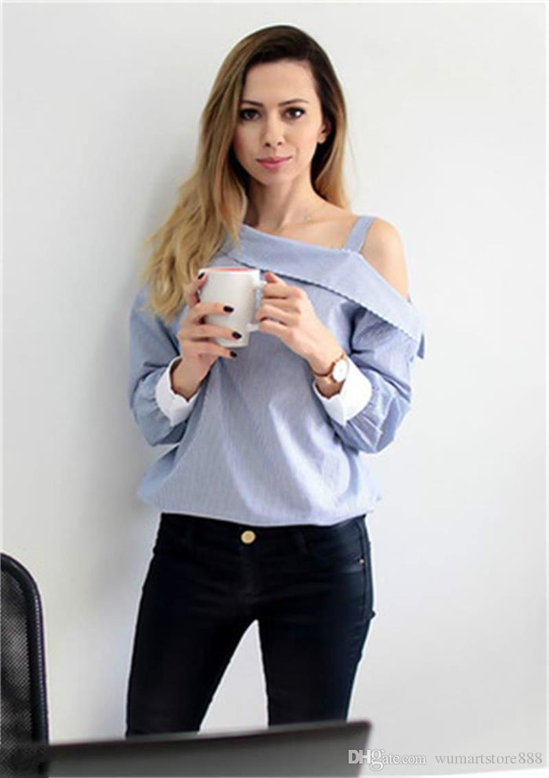 2017 Womens Tops Fashion Autumn Ladies Shirt Blue Striped Shirts ...