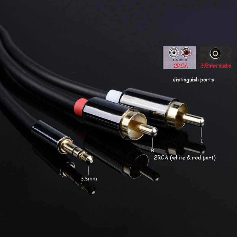 2 RCACable Hifi Jack Audio metal cable 3.5mm male to male 1M 2M for TV,computer,VCD,DVD,MP3