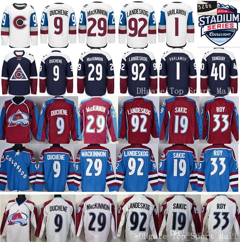 colorado avalanche jerseys winter classic ice hockey 92 gabriel landeskog 9 matt duchene 19 joe sakic 29 nathan mackinnon 1 semyon varlamov avalanche