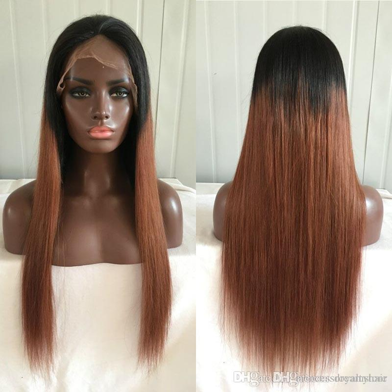 Hot selling 1b/30# Silk Straight full lace human hair wigs brazilian hair front lace wigs 130% density with baby hair wigs for black woman