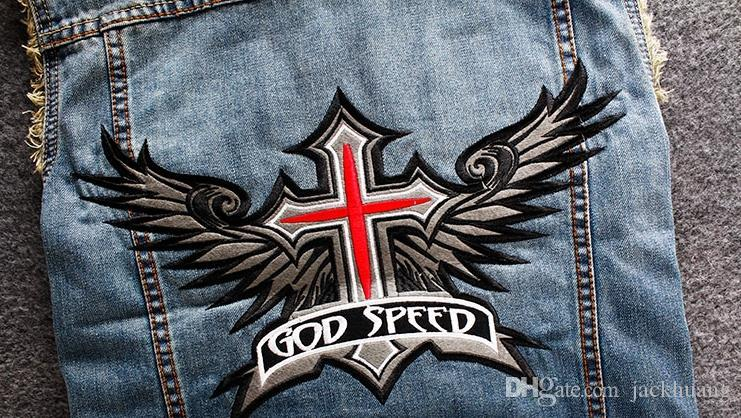 Men's Blue Biker Denim Vest God Speed Religion Cross Wing Patches Stand Collar Motorcycle Club Vest Vintage Sleeveless Jacket