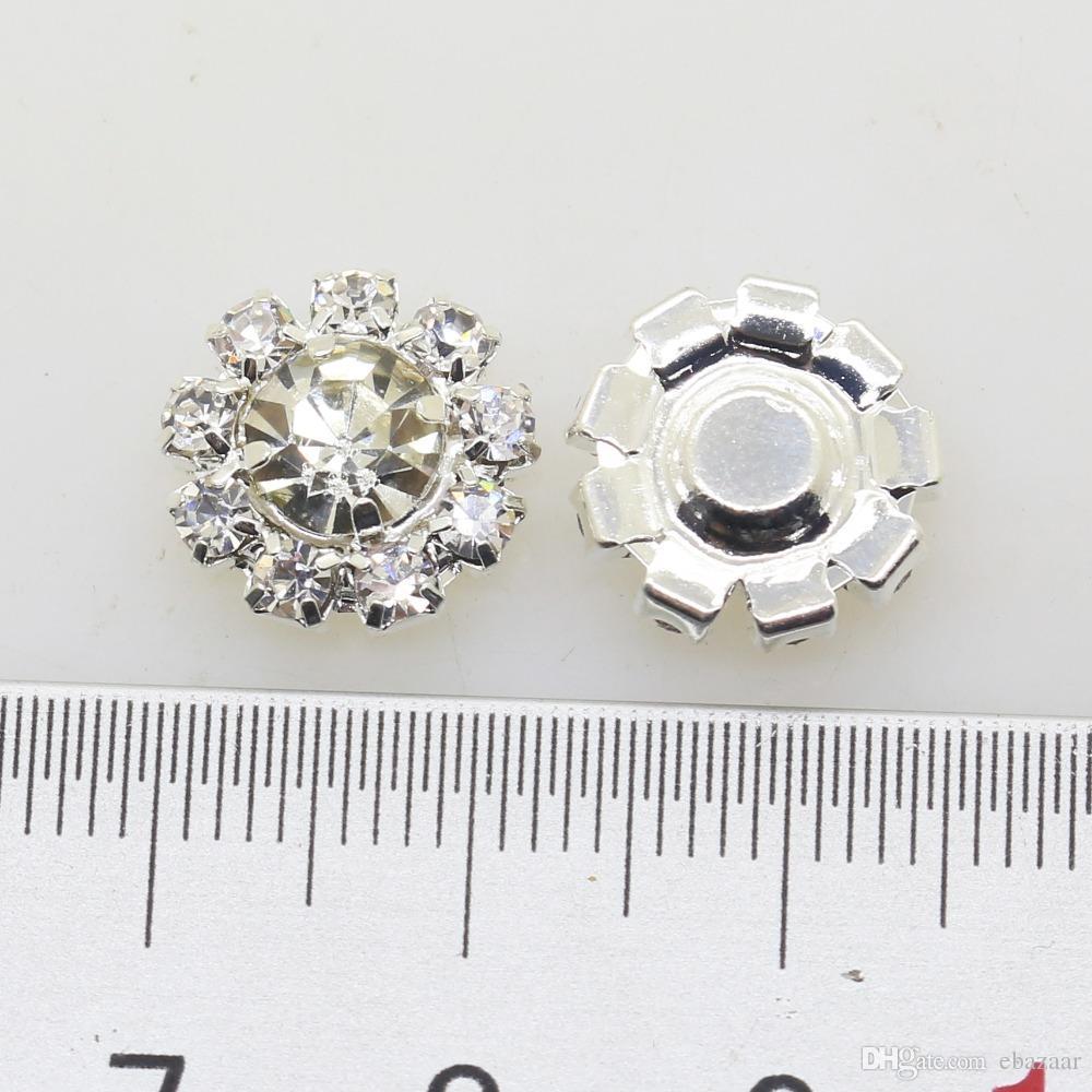 12 мм цветок металла свадьба горный хрусталь украшения кнопка Flatback пряжка Diy аксессуары свадебные украшения
