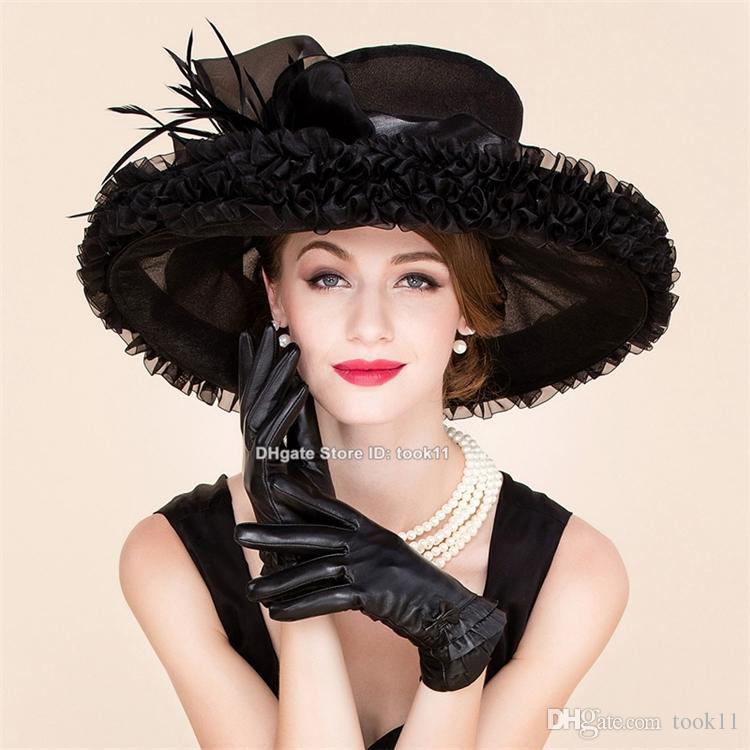 Compre Moda De Verano Kentucky Derby Sombreros Para El Té Vestidos De  Fiesta Iglesia Sombreros Negro Ala Ancha Sombrero Organza Chapeau Femme  Boda Sombrero ... 8849b69a487