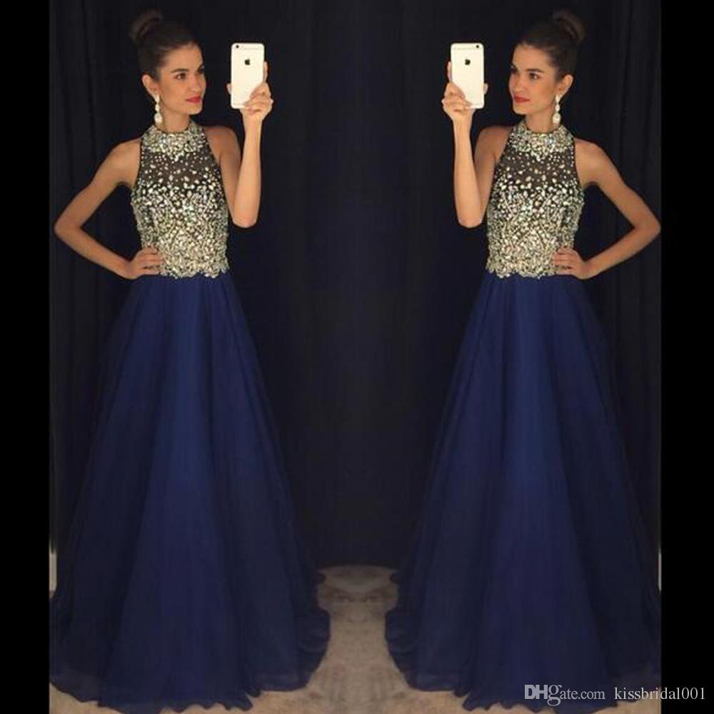 Bling Navy Blue Chiffon Prom Dresses Crystal Beading Formal Evening Dresses High Neck Sweep Train Formal Party Dresses Gowns