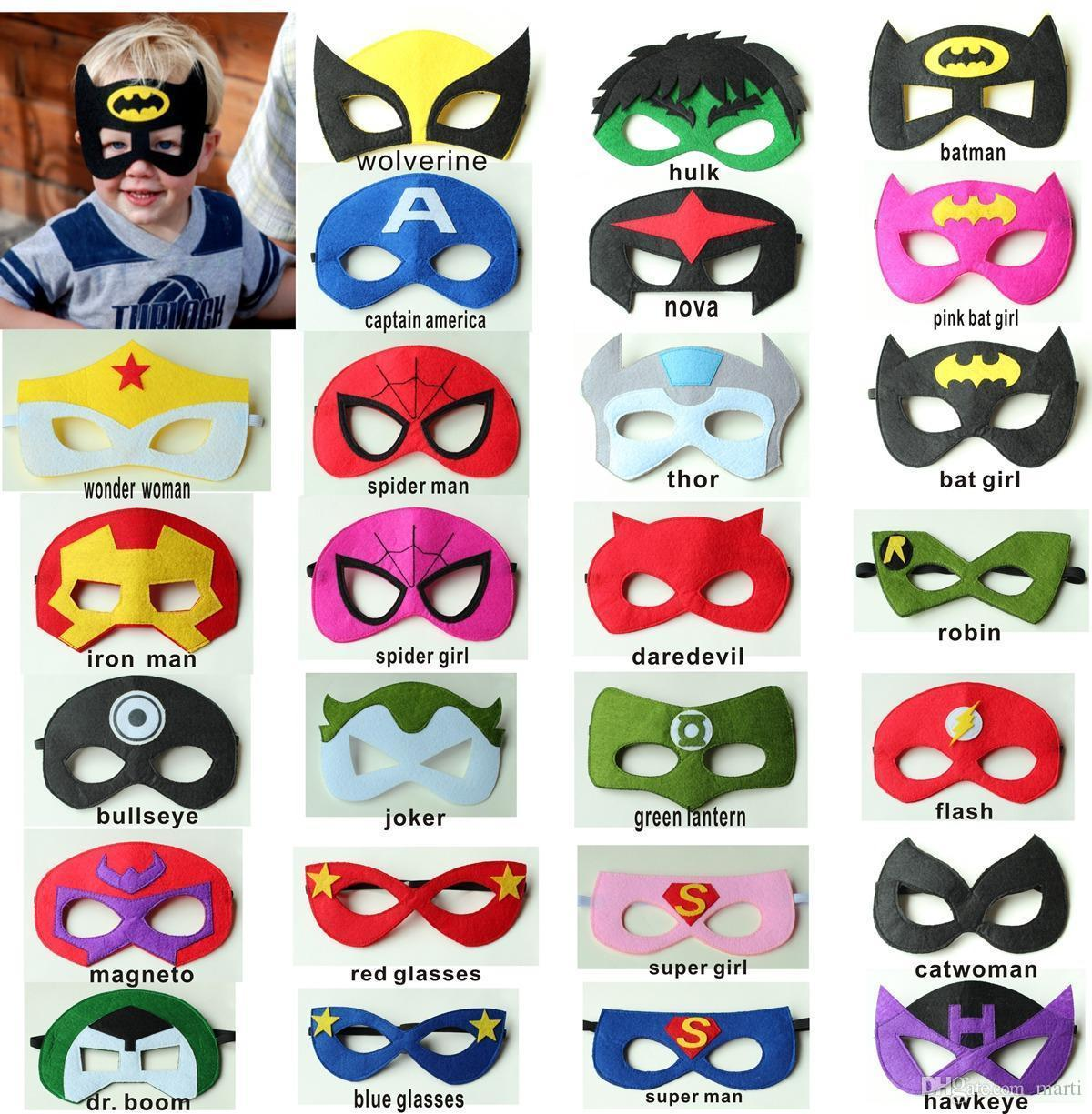 2017 party masks for baby kids child half face movie star cartoon super hero Superhero masks for halloween birthday party Y223