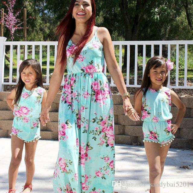 132564624e Family Matching Dresses Mother Daughter Floral Printed Dress Womens Girls  Rompers Long Maxi Print Dresses Mom Baby Match Outfits Clothing Matching  Family ...