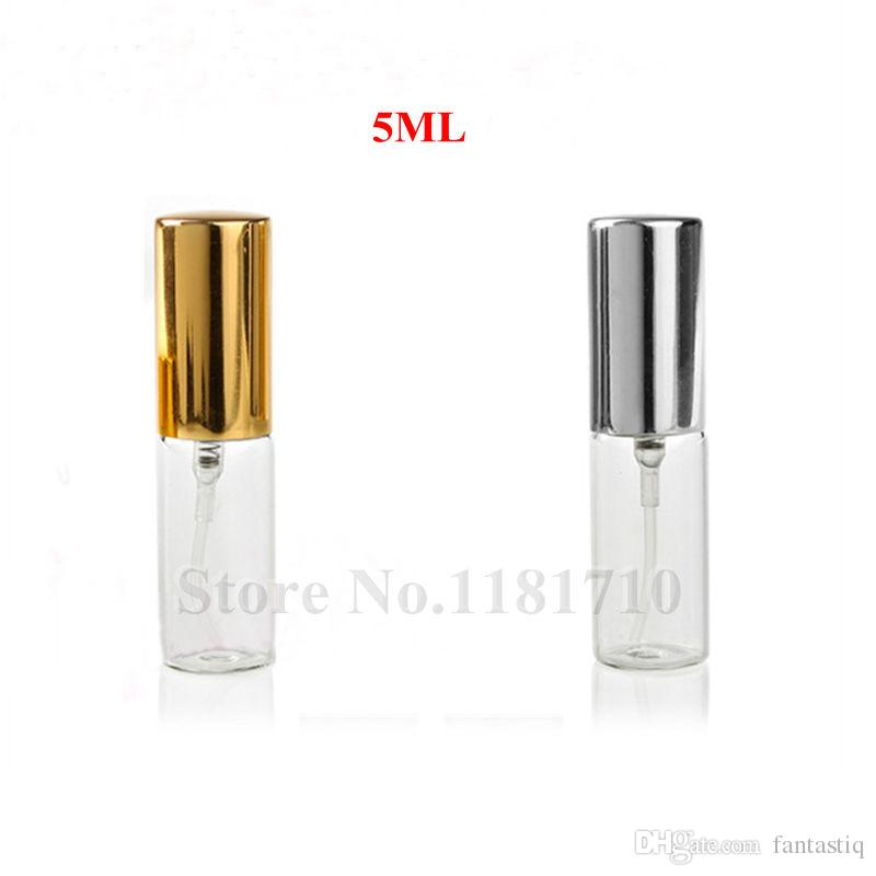 5ML 10ML Transparent Glass Spray Bottle Empty Clear Refillable Perfume Atomizer with Gold Silver Cap Portable Sample Glass Vials