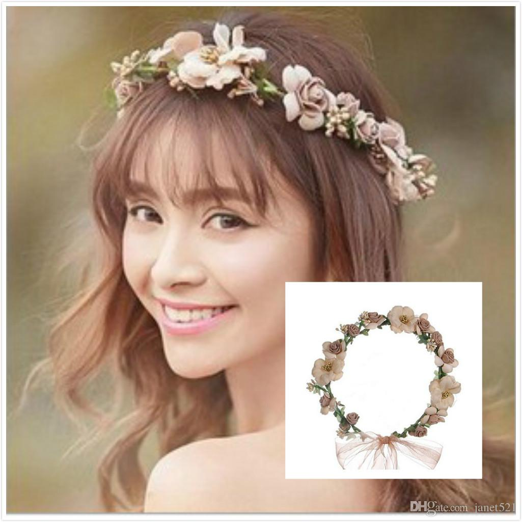 2019 Pretty Bridal Garland Headband Flower Crown Hair Wreath Halo With  Adjustable Ribbon For Wedding Festivals Bridal Hair Accessories From  Janet521 4ce0ee28896