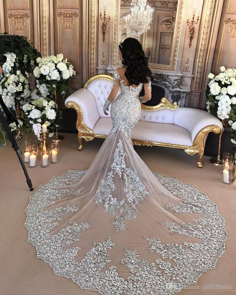 럭셔리 반짝 이는 2017 웨딩 드레스 섹시한 순전히 블링 페르시 레이스 아플리케 하이 넥 환상 긴 소매 샴페인 인어 예배당 신부 가운