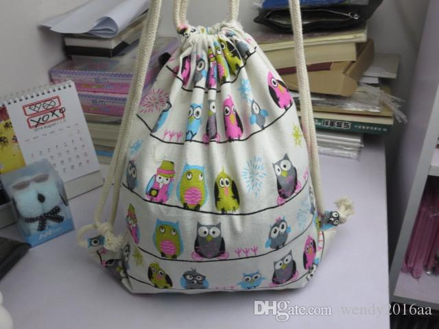 2017 New Arrival Backpack style cotton canvas Brief Animals Owls Birds printed women girl Drawstring Shoulder Bags Backpack bags