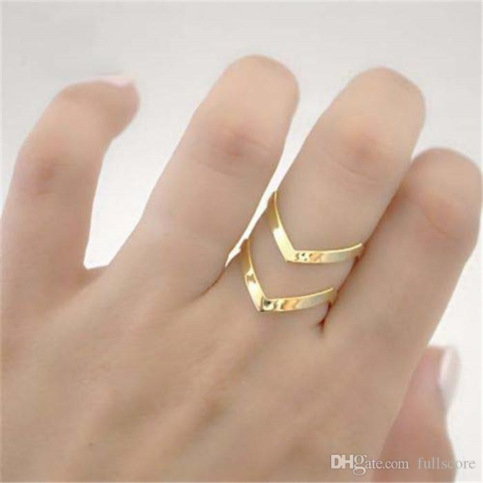 Fashion Adjustable double V, Triangle ring. Midi, Finger, thumb 18KGold Silver plated for wife girlfriend birthday gift