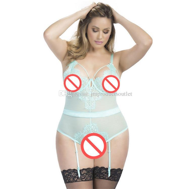 OY80266R M / XL / 3XL / 5XL Plus size lingerie sexy esposto pizzo giarrettiera set pigiama sexy teddy