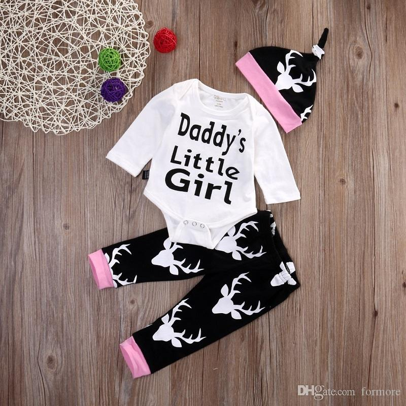 Autumn baby romper suit daddy little girl clothing set newborn infant rompers+hat+pants outfit toddlers boutique clothes bodusuit plays