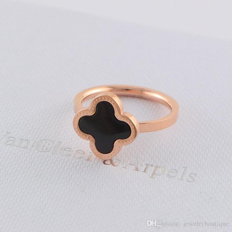 Famous brand name Lovers Rings 316L Stainless Steel White and black shell flower ring for women Rings wedding Jewelry PS5508