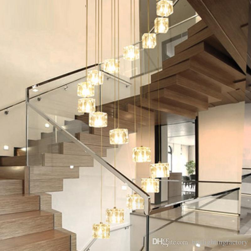 Stairs Long Pendant Lights Led Modern Dining Room Hotel Hall Mall Droplight  Creative Revolving Double Stair Pendant Lights Semi Flush Ceiling Lights ...