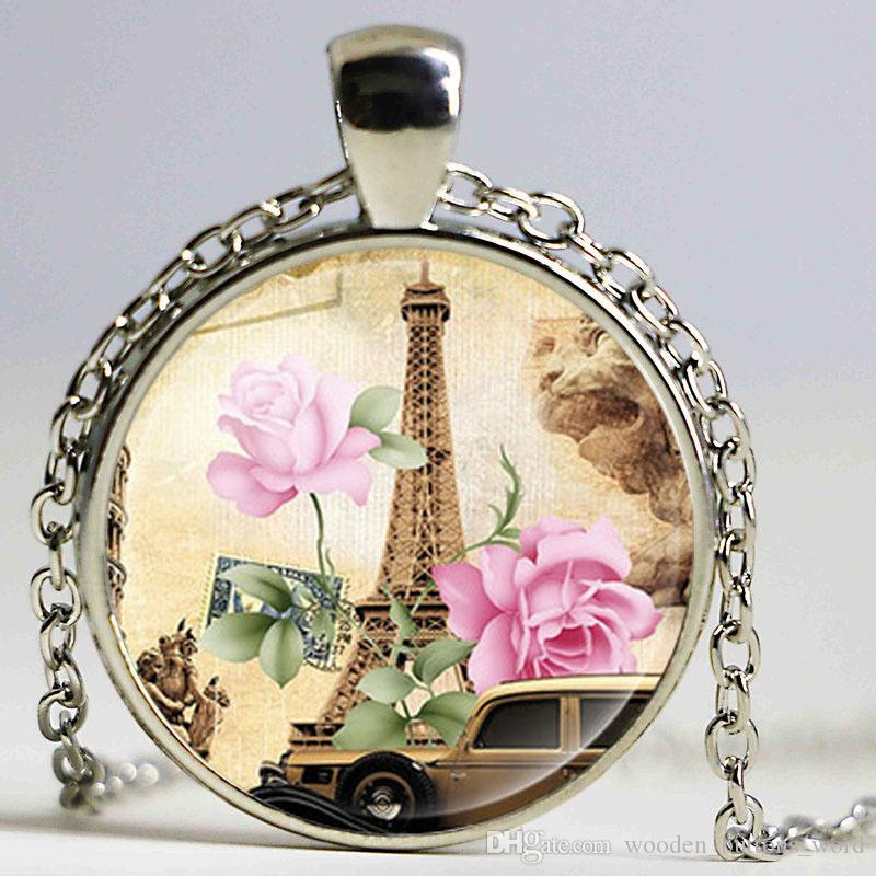 Wholesale paris eiffel tower necklace women silver plated glass wholesale paris eiffel tower necklace women silver plated glass pendant choker necklace handmade diy jewelry horse pendant necklace cute pendant necklaces mozeypictures Images