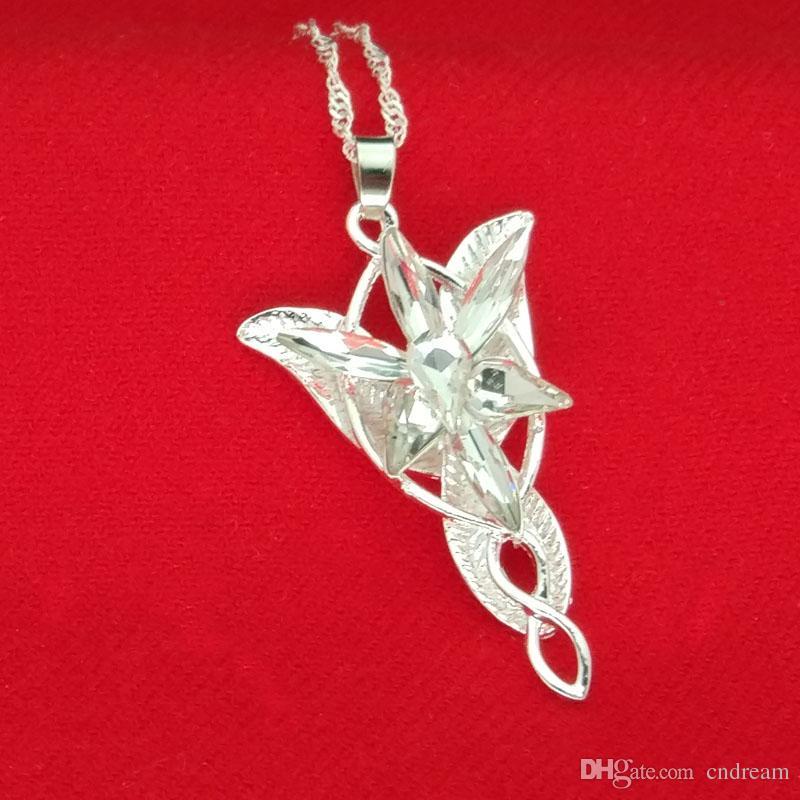 Senhor do Anel Arwen Estrela Colar de Prata e Branco Pingente Evenstar com Corrente De Prata moda Jewlery para As Mulheres Transporte da gota