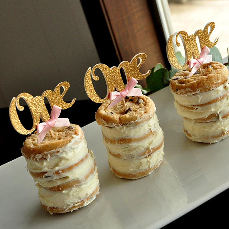 2019 Wholesale Baby First Birthday Decoration One Cupcake Toppers Pink Bows Gold Show Cake Topper Decorations Supplies From Calars 2498