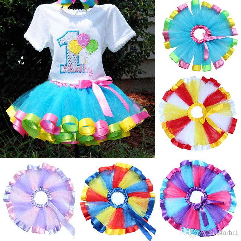 2c48542a23c6 2019 2017 Children Rainbow Tutu Skirt Kids Newborn Lace Princess ...