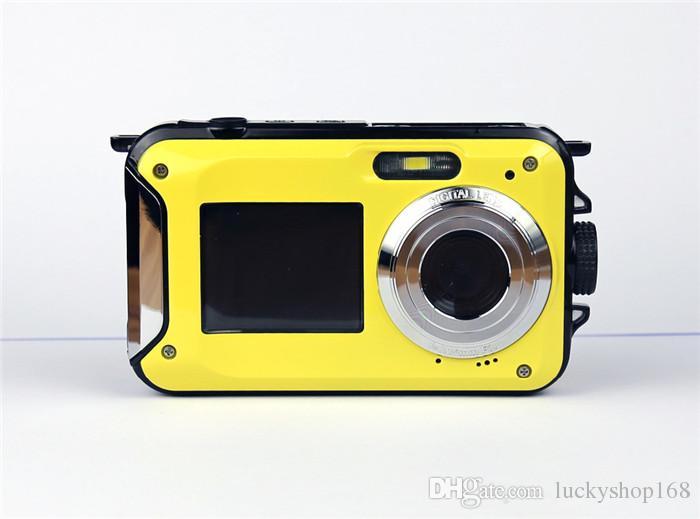 Yeni Max 24MP Çift Ekranlar Su Geçirmez Dijital Kamera 2.7 inç + 1.8 inç Ekranlar HD CMOS 16x Zoom Kamera su geçirmez Kamera DHL