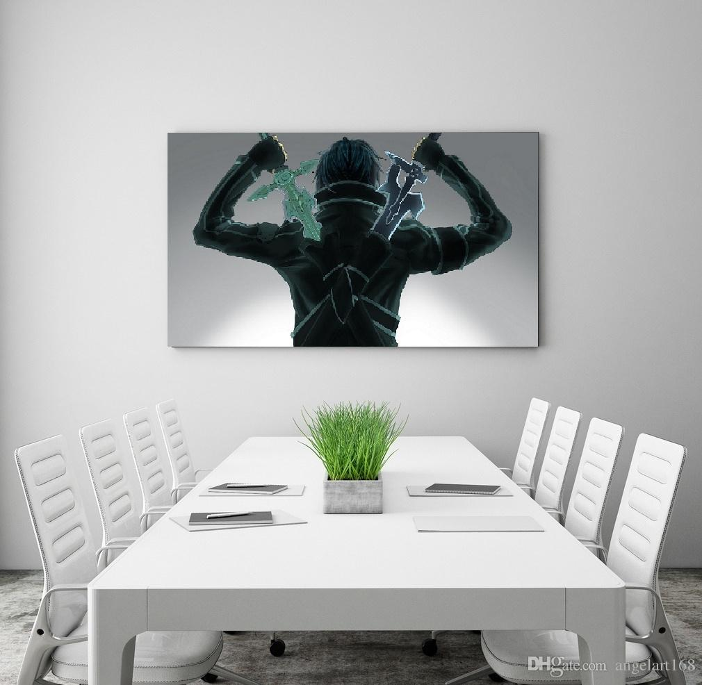 2019 single unframed sword art oneline anime painting back view oil painting on canvas giclee wall art painting art picture for home decorr from angelart168