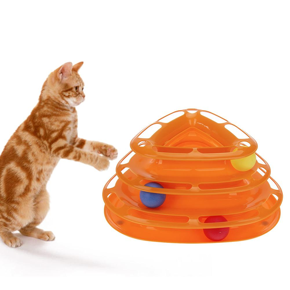 Drop shipping Creative Pet Cat Toy Interactive Training Amusement Plate Trilaminar Crazy Ball Disk Play Activity Game Dog Toys