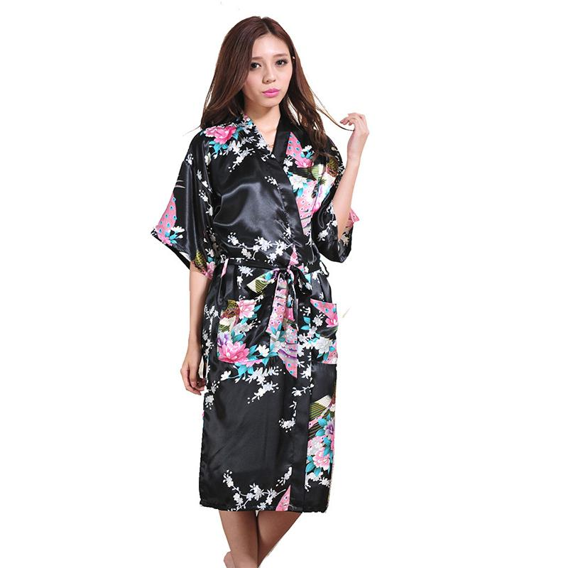 f43f9d69ff 2019 Wholesale Women Silk Satin Long Wedding Bride Bridesmaid Robe Peacock  Bathrobe Floral Kimono Robe Large Size Dressing Gown Peignoir Femme From  Hongyeli ...