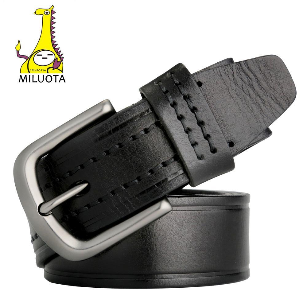 Compre Al Por Mayor miluota 100% Cuero Genuino Cinturón Hombre Moda Hebilla  De Metal Cinturones De Cuero Para Hombres Jeans Correa De Lujo Mu052 A   34.08 ... 086de5d00ead