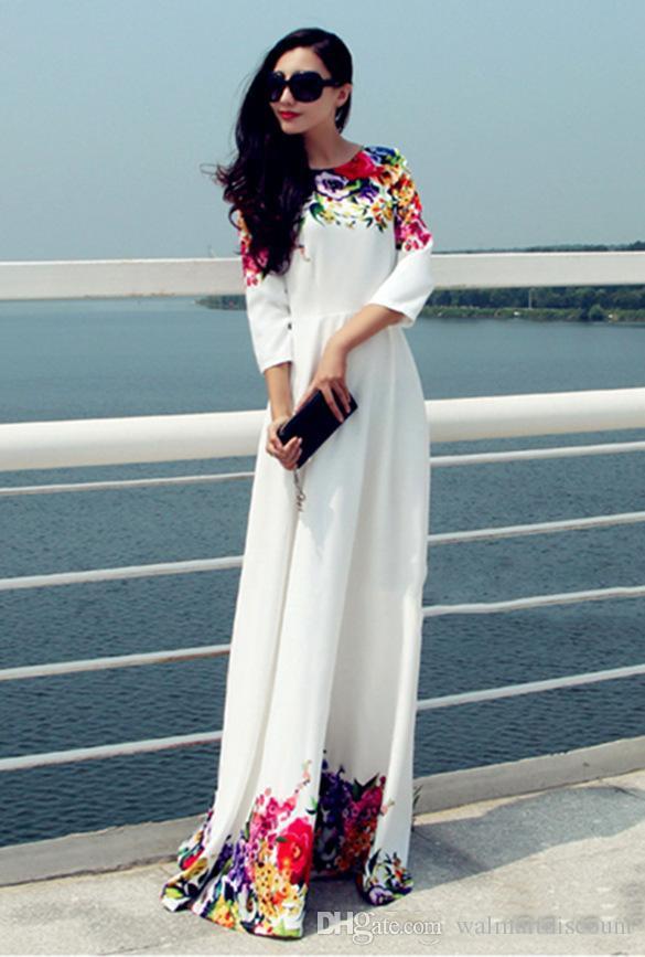 2017 Uzun Kadın Parti Elbise Beyaz Çiçek Baskı Maxi Boho Plaj Giydirme Plus Size Robe Casual Vestido Longo Ropa Mujer