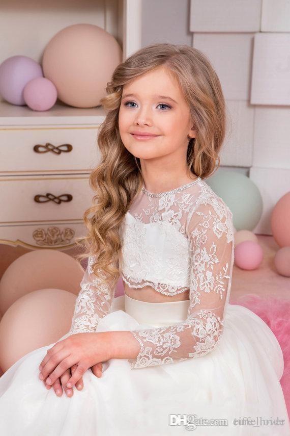 2017 Bella Bambini Abiti da Pageant Sexy Sexy Pheer Pizzo Applique Gioiello Collo Illusione Manica lunga Due Pezzi A Line Tullo Bambina Prom Dress