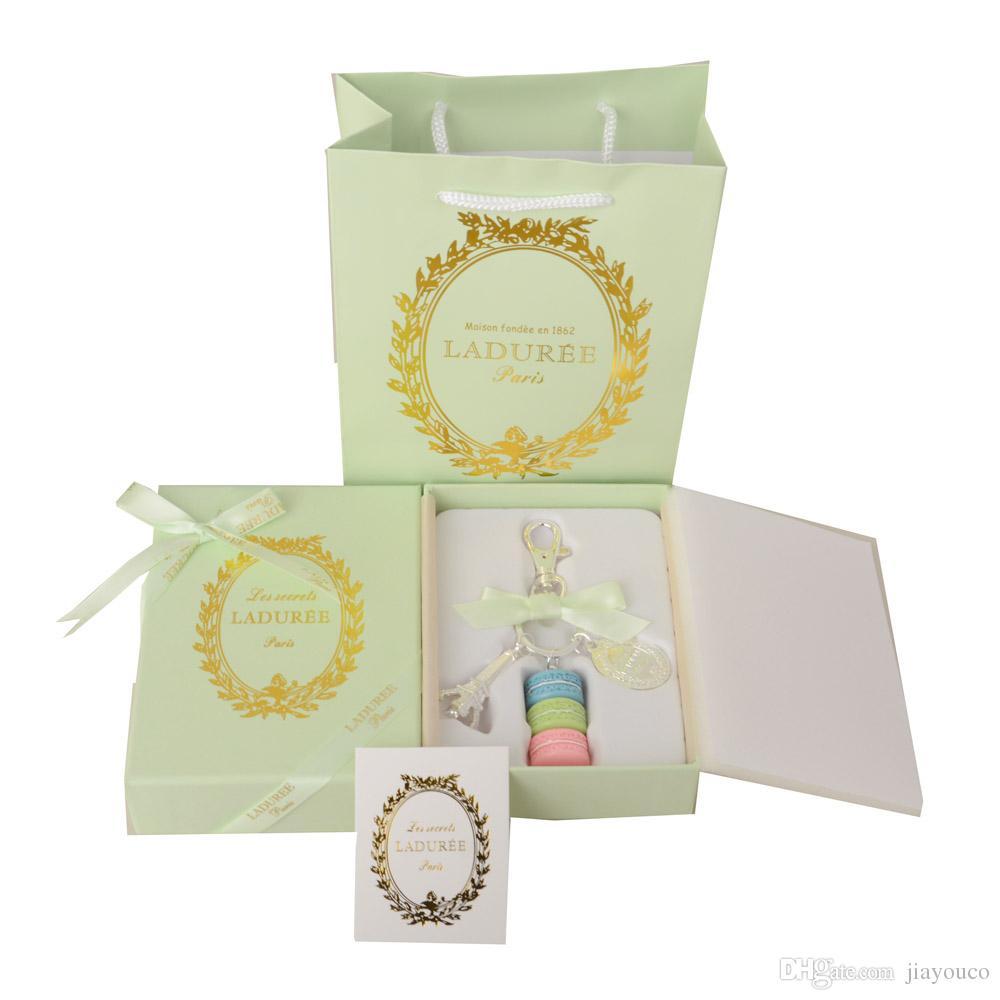 Liga Banhado A Ouro France Chaveiro LADUREE Macaron Effiel Torre Moda  Chaveiro charme acessórios w caixa de presente e bolsa