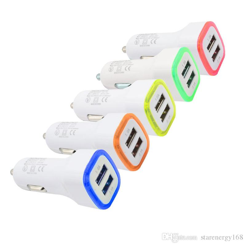 168 LED Dual Usb Car Charger Vehicle Portable Power Adapter 5V 2A 1A For Smartphone tablet pc smart phone