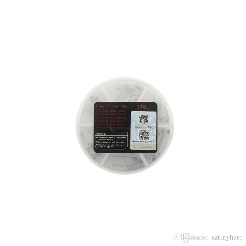 100% authentische Demon Killer Flame Coil 6 in 1 Kit vorgefertigten 0,25 0,3 0,35 0,5 Ohm 316L Heizdraht