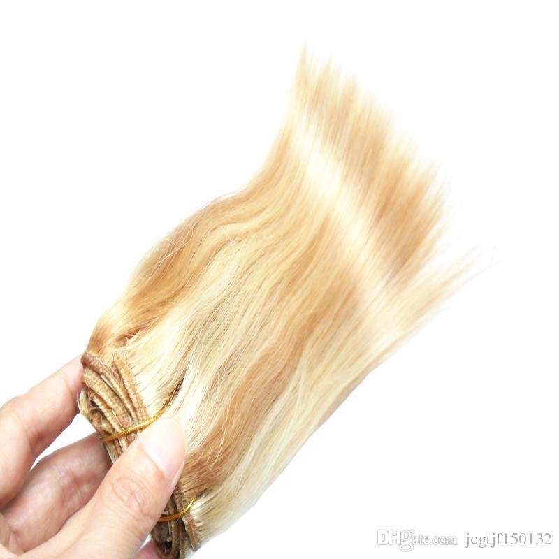 Blonde Brazilian Hair Human Hair Piano color P27/613 100g brazilian straight hair weave bundles 100g/pc weave