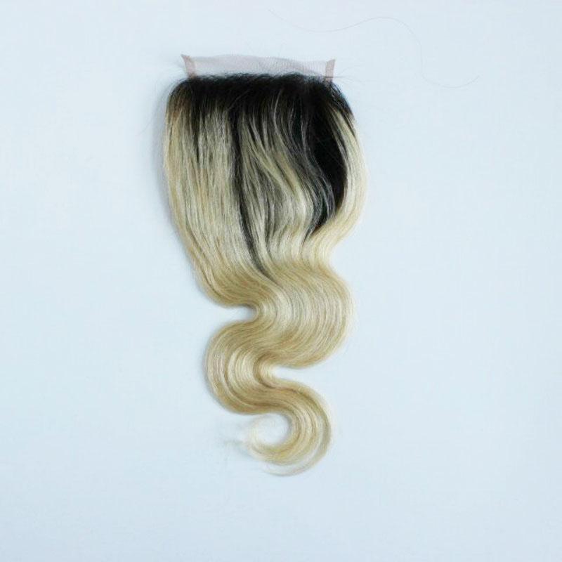 ew Body Wave Virgin Indian Hair Ombre Blonde Lace Closure 4 * 4 con el pelo del bebé T1B613 cierres nudos blanqueados