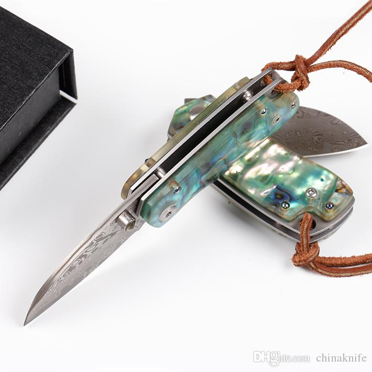 Top Quality Damascus Folding Knife Abalone shell + Steel Sheet Handle EDC Pocket Knives Small Gift Keychain Knife Liner Lock