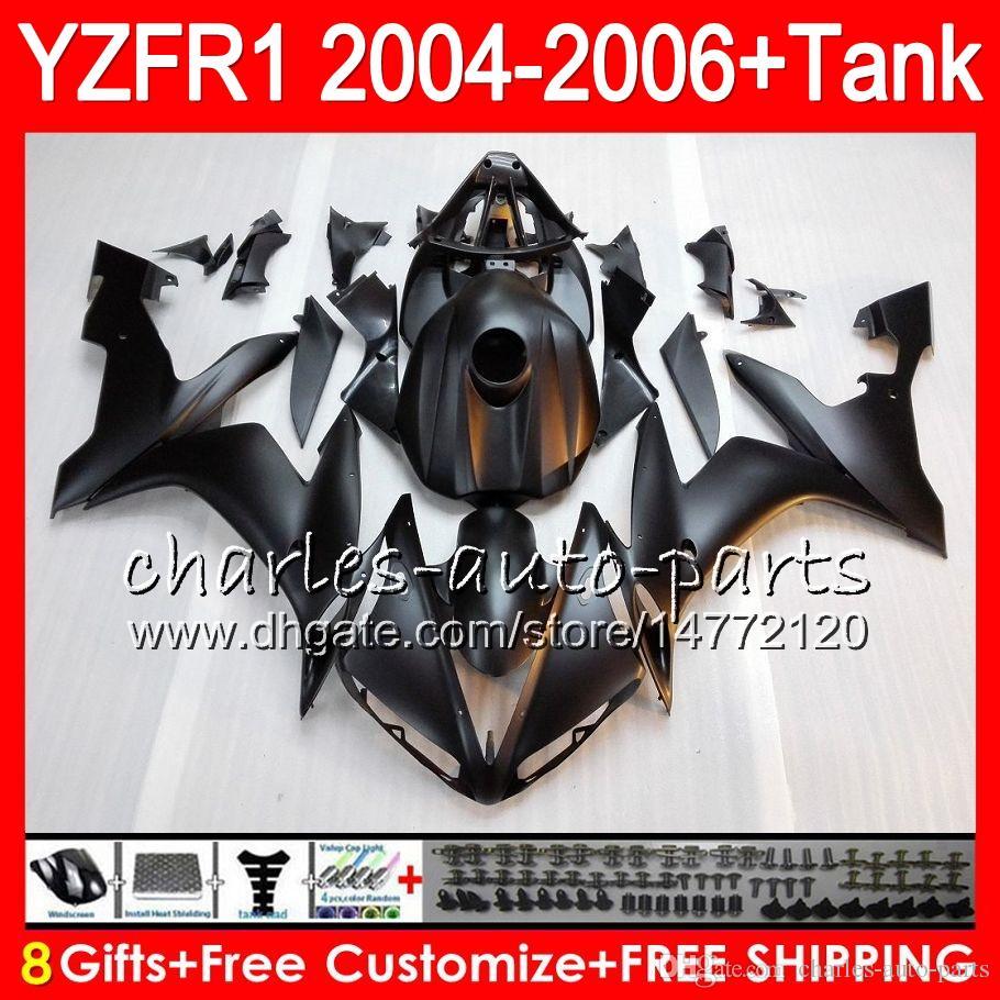 Матовый черный 8Gift Body For YAMAHA YZF R 1 YZF 1000 YZFR1 04 05 06 58HM13 YZF-R1000 YZF-R1 YZF1000 YZF R1 2004 2005 2006 Комплект обтекателя