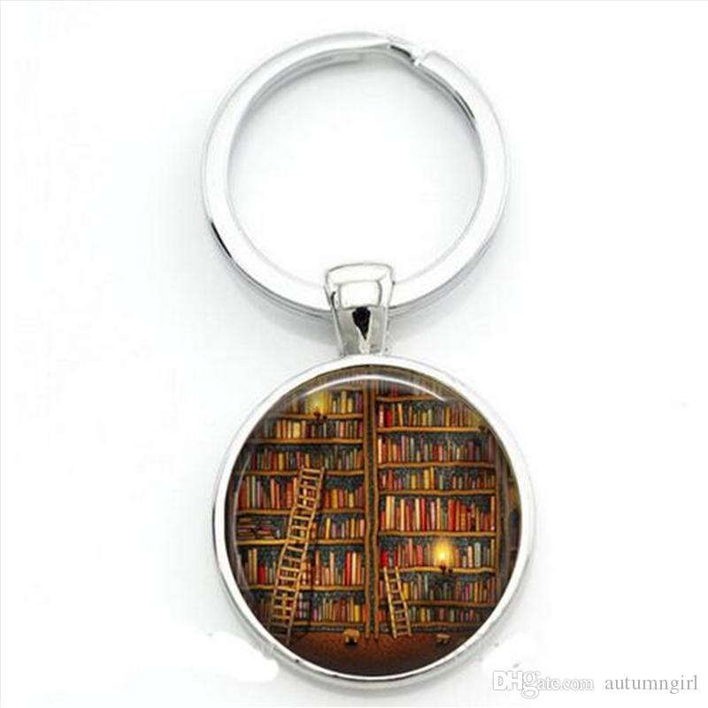 New Fashion Library Book Case Keychain Vintage Style Gift for Students Teachers Trendy Librarians keychain Handmade Old Books Keychain