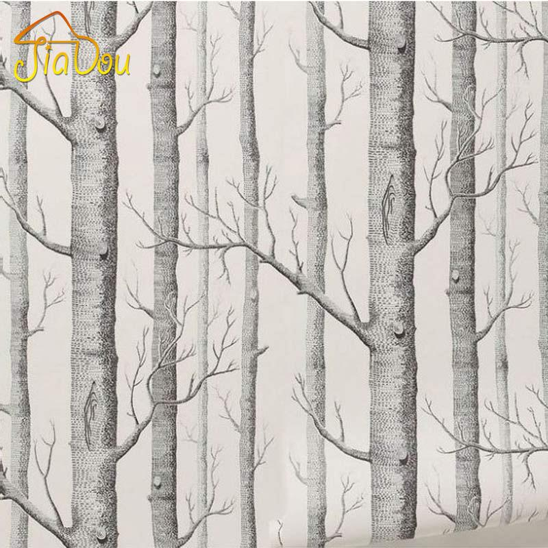 Black White Wood Forest Tree Texture 3D Embossed Flocking Non Woven Wallpaper Wallcovering Living Room TV Background Home Decor Wallpapers In Hd