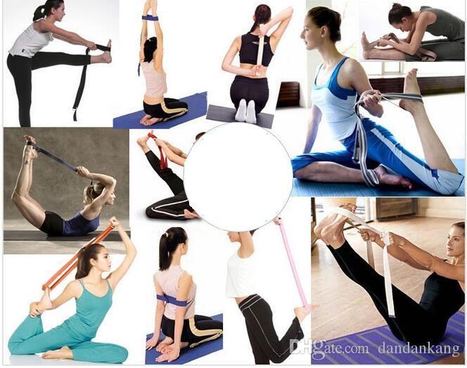 183cm Yoga bandes de résistance physique rayures de yoga Ceintures extensible Sangle D-Ring Ceinture taille jambe Gym boucle corde de yoga ceinture