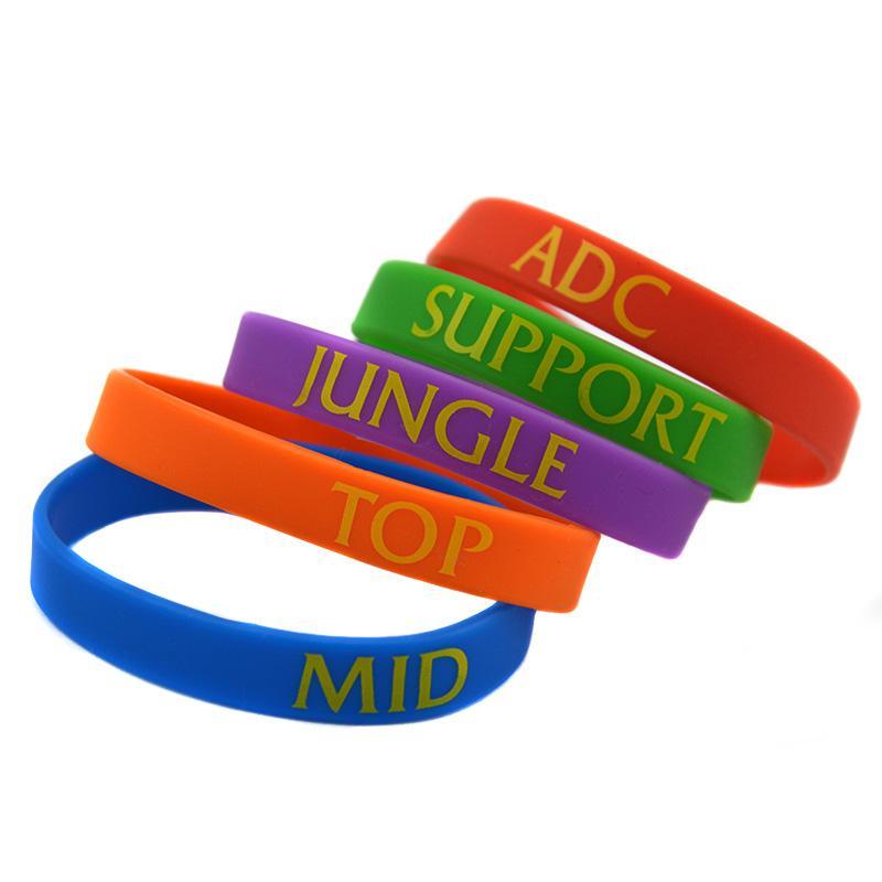 Оптовая продажа 100 шт./лот Лига легенда силиконовый браслет Браслет для геймера с печатным логотипом ADC джунгли MID поддержка ТОП